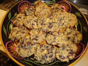 freshly baked cranberry chocolate chip cookies